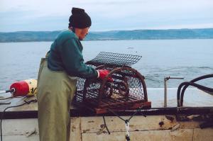 C'est important de s'habillés avec du bon équipement quand tu pêches. Cet homme rentre les cages.