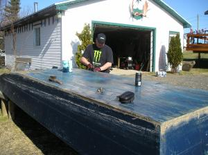 Painting your boat is one popular activity related to getting ready for salmon season.