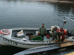 These fishermen are preparing to go out to check their lobster traps.