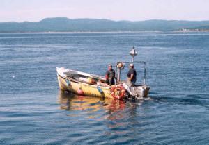 Ces pêcheurs se préparent pour aller vérifier leurs cages à homards.