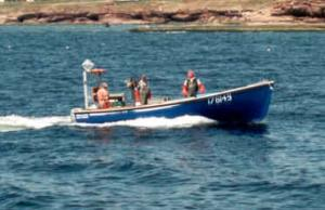 These fishermen are heading out to check their traps.