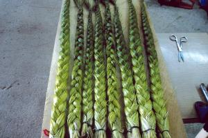 This is a great picture of braided sweet grass but they will not be used for smudging until they have dried; their color will th