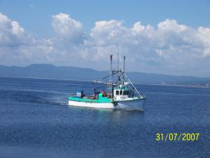 The size of a turbo and crab fishing boat is not as big as the boats used for fishing snow crab.
