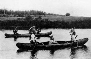 Take notice of the clothing the Mi'gmaq wore. Their canoes were made of birch wood.
