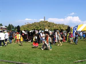 Whether or not you have regalia or moccasins everyone is welcome to dance during any of the intertribal songs.