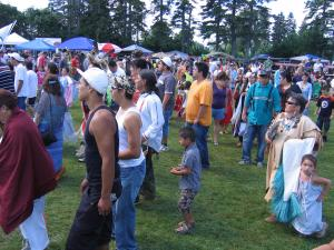 Here is an intertribal song where everyone is welcome to dance; Listuguj Pow Wows are large in numbers.