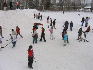 To keep healthy and active the youth play boot hockey during their winter carnival festivities.