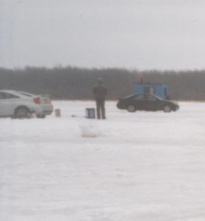 To go far out onto the ice, you can either drive a vehicle or a ski doo. The ice is thick enough so it is safe to do so.