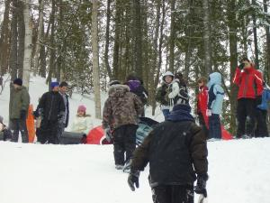 Outdoor winter activities, like sliding, can be done in groups of children. This is where children get to meet other children an