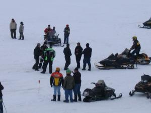 A lot of the skidoo races take place on the ice because it is an open area with no traffic making it safe for everyone.