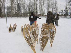 Snow shoeing continues to be an important form of transportation during the winter months.